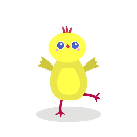 active chick with big round eyes dancing and posing on a white background animal and bird concept Çizim