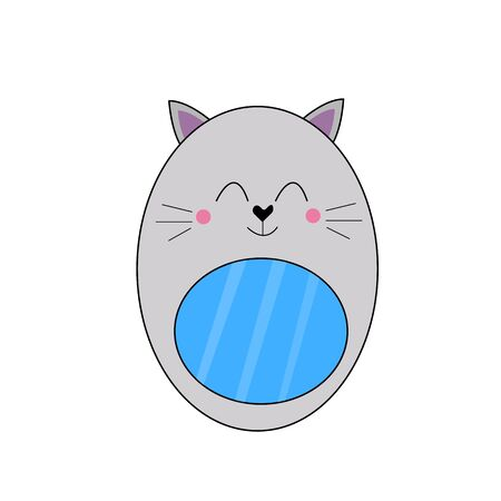 cat shaped mirror with a cute smile and mustache on a white background concept of pets and accessories Çizim
