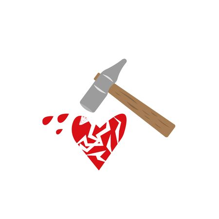 cracked red heart with flying drops of blood and a hammer the concept of unrequited love Illustration