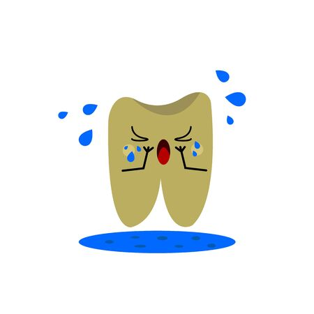 human tooth of an unhealthy color crying from pain underneath a whole puddle object for design on a white background dentistry concept