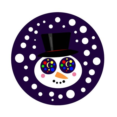 snowman in a black top hat in his eyes reflects Christmas round lights and the moon falls white snow festive evening winter and new year concept