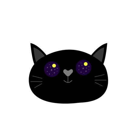 black cat cute muzzle in big round eyes reflects the starry sky and moon animal concept animal object for design on a white background