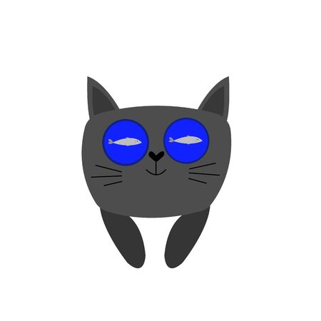 gray cat with big round eyes which reflects a fish floating in blue water the concept of a pet object for design on a white background