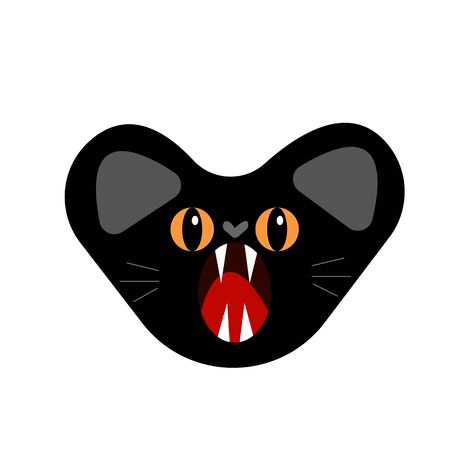 scary black cat with a big open mouth with sharp fangs and orange eyes. animal and rabies concept object for design on a white background