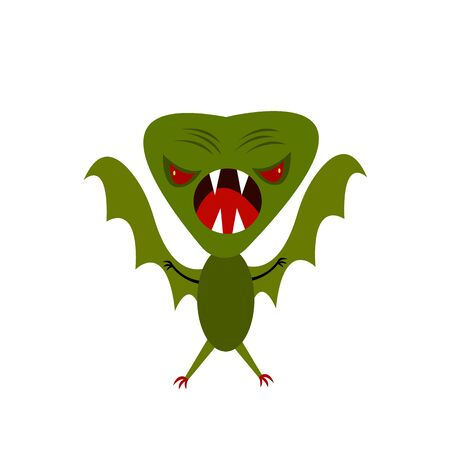 green monster with wings sharp fangs and claws halloween and mysticism concept object for design on a white background