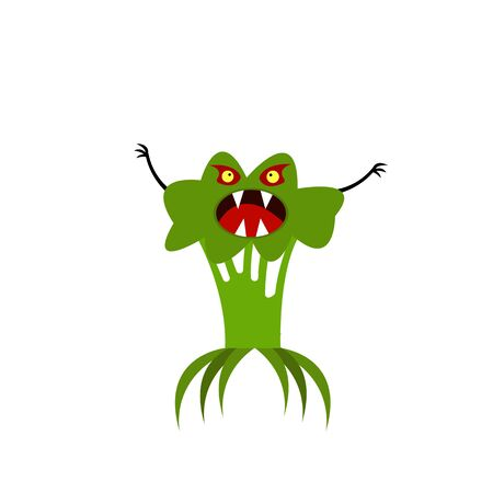 broccoli monster with sharp fangs and claws object for halloween on a white background scary plant