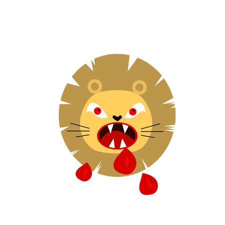 evil lion with a bloodied mouth and sharp fangs dripping blood drops the concept of predators and rabies in animals Illustration
