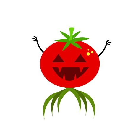 monster tomato with triangular eyes and fangs green leaves and sharp claws concept halloween object for design on a white background