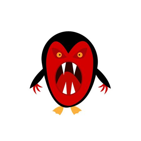 red-black penguin with open mouth and sharp fangs fantastic monster for halloween object on a white background