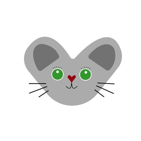 gray kitten with green eyes and eyelashes a popular pet with a mustache object on a white background