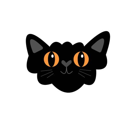 black cat with orange eyes and a nose in the shape of a heart a fluffy and mustachioed pet on a white background