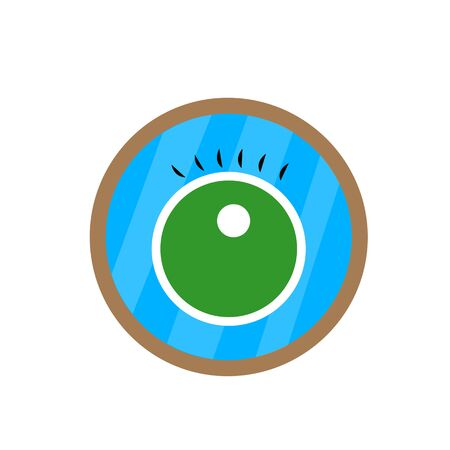 green eye with eyelashes is reflected in the mirror object for design on a white background concept of beauty and narcissism