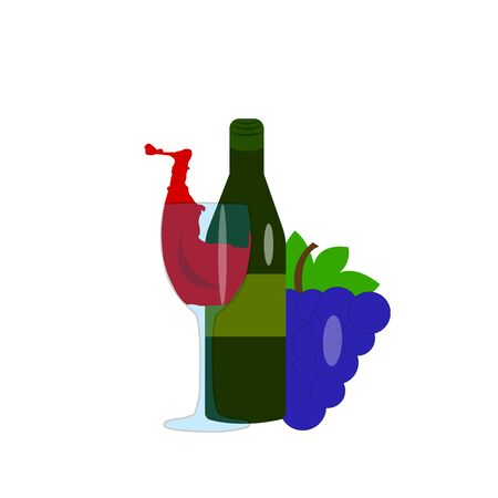 transparent glass with a splash of red wine a bottle and a bunch of blue grapes alcoholic drinks concept still life on a white background Banque d'images - 137867581