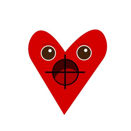 red heart with big brown eyes and eyelashes is under gun sights it is afraid object on a white background