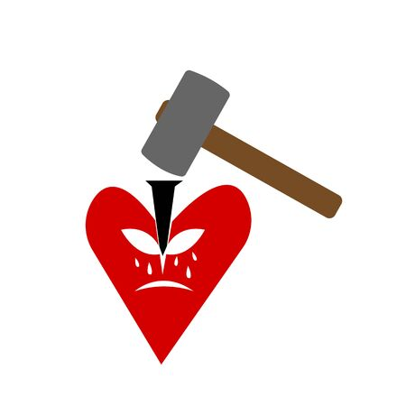 sledgehammer drives a cleaver into a heart that is cracking and crying concept of illness and non-mutual love objects on a white background