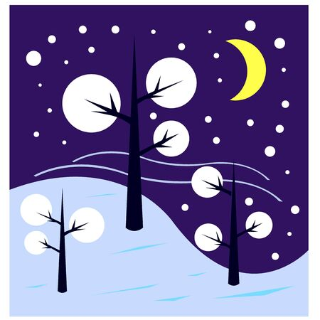 winter night tree branches covered with snow on the sky bright moon is clean and no one is around the concept of the cold season and nature Illustration
