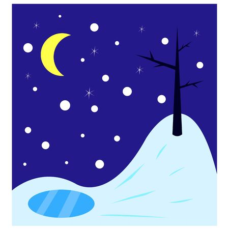 winter night lonely bare tree on a hill a frozen lake a bright moon and stars background for the cold season is clean and there is nobody around wildlife Illustration