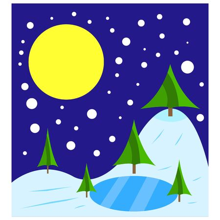 green trees grow in winter near the lake covered with ice, snow falls in the sky the full moon shines the background for the cold season is clean and there is nobody around