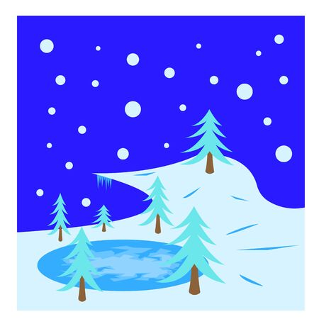 blue spruce trees growing by a frozen lake covered with ice and patterns all covered with snow winter landscape background for design clean and nobody around
