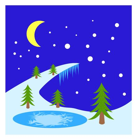 green trees grow by the lake covered with ice a bewitching winter night falling snow background for design pure and nobody Illustration