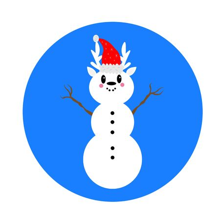 Christmas snowman with a deer head in a red hat with stars patterns. New Year and Christmas concept.