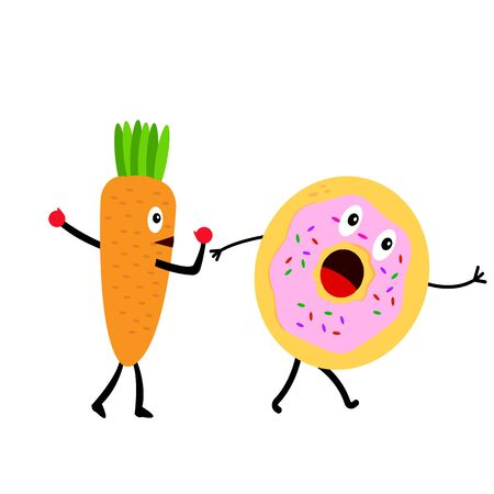 carrot in boxing gloves threatens a donut who is scared and runs away concept of healthy eating and vitamins cartoon characters on a white background