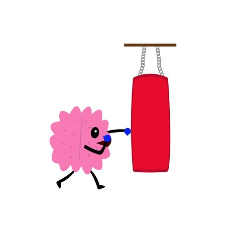 human brain in boxing gloves beats punching bag active cartoon character for design objects on a white background Stock fotó