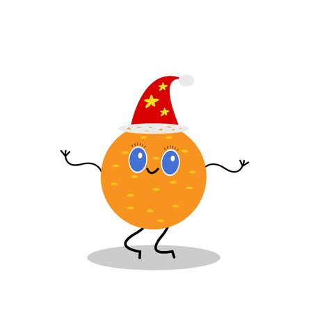 Mandarin dancing in a red Santa hat with star patterns. The concept of winter holidays and vitamins. 스톡 콘텐츠