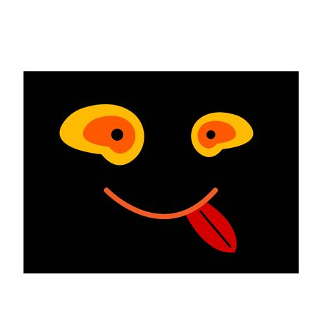 funny smiley face with orange eyes smiling and sticking out red tongue on a black background object for design Stok Fotoğraf