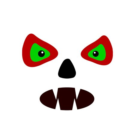 evil eyes and mouth with fangs on a white background objects for design concept halloween