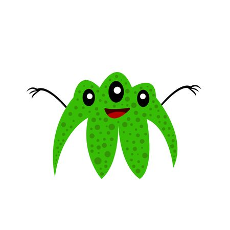 green three-eyed monster with a cute smile funny character for design on a white background halloween concept 스톡 콘텐츠