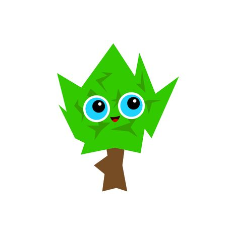 funny spiky tree with green top and big blue eyes cartoon forest character for design concept nature object on white background