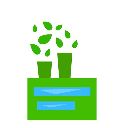 plant from the pipes of which instead of steam green leaves fly object on a white background ecology concept