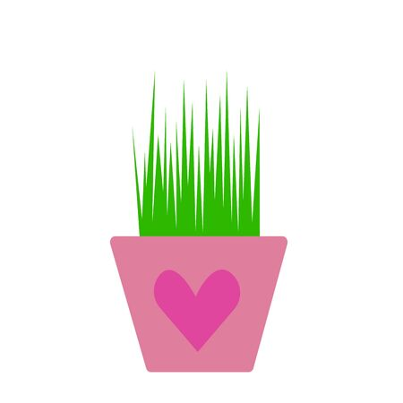 green grass in a pot with a heart-shaped pattern object on a white background nature and gardening concept