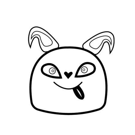 muzzle of a cute dog with his tongue hanging out and a smile. pet concept object on a white background