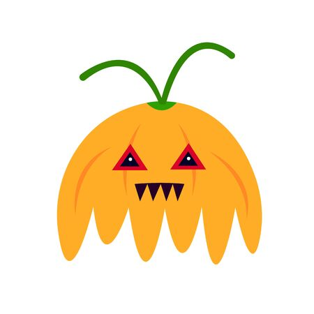 orange monster pumpkin with triangular eyes and sharp teeth. mystic and halloween concept object on a white background.