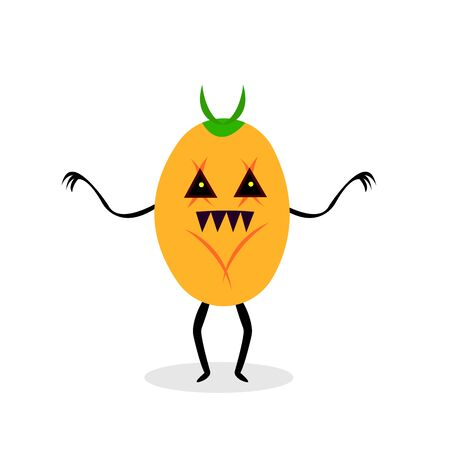 pumpkin monster with sharp claws and teeth. concept of mysticism and halloween object on a white background.