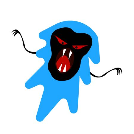 scary ghost with sharp fangs and claws blue mystical character with black pattern halloween concept object on a white background