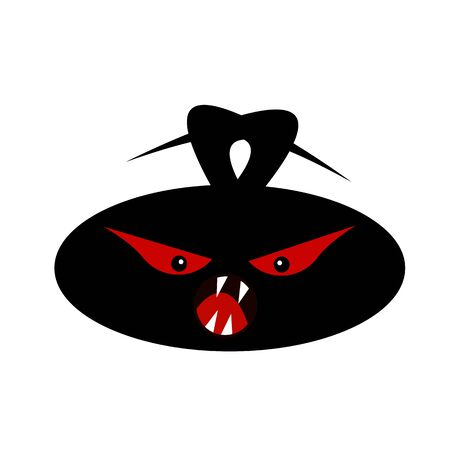 black monster head with evil red eyes mysticism and halloween concept object on a white background
