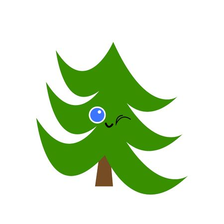 Winking green spruce with a cute smile. Christmas and New Year concept logo on a white background.