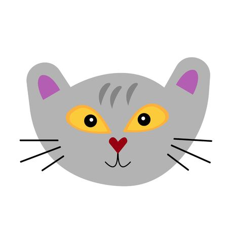 muzzle of a gray mustachioed kitten with sparkling orange eyes and a cute smile object on a white background pet concept 向量圖像