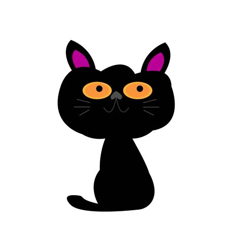 cute black cat with big orange eyes and a smile cartoon character for design concept pets object on a white background 向量圖像