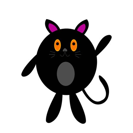 fat black cat with sparkling orange eyes cartoon character for design concept pets object on a white background