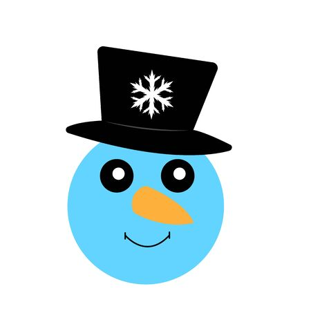 portrait of a blue snowman in a black top hat with a snowflake pattern object on white background concept of winter holidays Zdjęcie Seryjne - 138424342