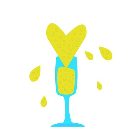 glass of champagne with a high splash in the form of a heart flying around a drop concept of alcoholic drinks and New Year object on a white background