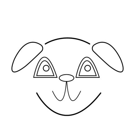sketch of a cute smiling puppy concept popular pets object on a white background Ilustrace