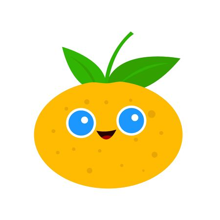 mandarin with round blue eyes and a cute smile cartoon character for design symbol of winter holidays object on a white background