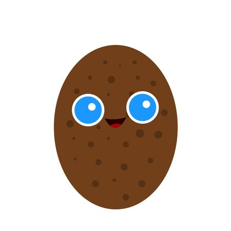 brown potato with a sweet smile and big blue eyes object on a white background food and harvest concept