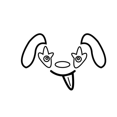 sketch cute dog with his tongue hanging out object on a white background pet concept. Ilustrace