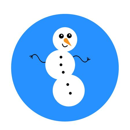 dancing snowman on a blue round background funny cartoon character with a carrot nose and a cute smile winter and christmas symbol